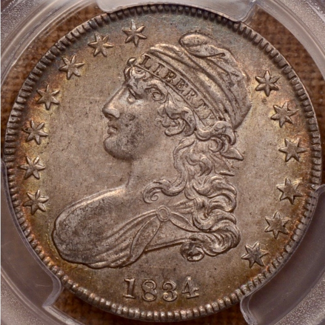 1834 O.116 Small Date, Small Letters Capped Bust Half Dollar PCGS AU53 CAC