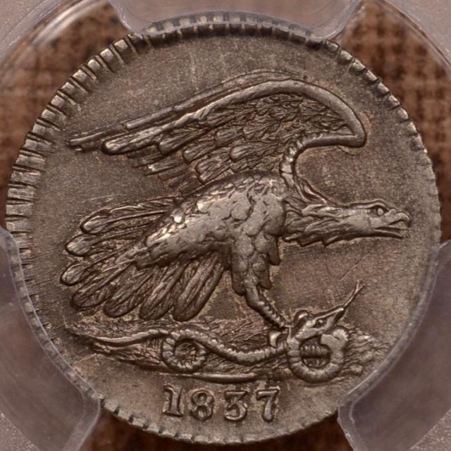 1837 5/G Feuchtwanger cent PCGS AU53