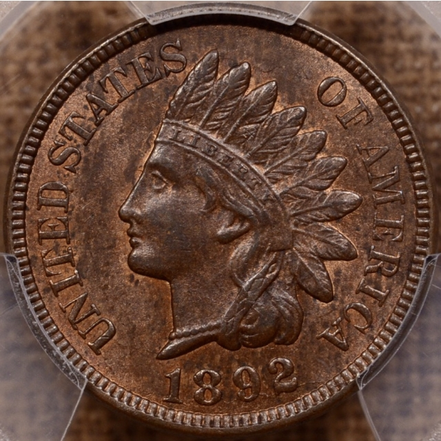 1892 Indian Cent PCGS MS62 BN