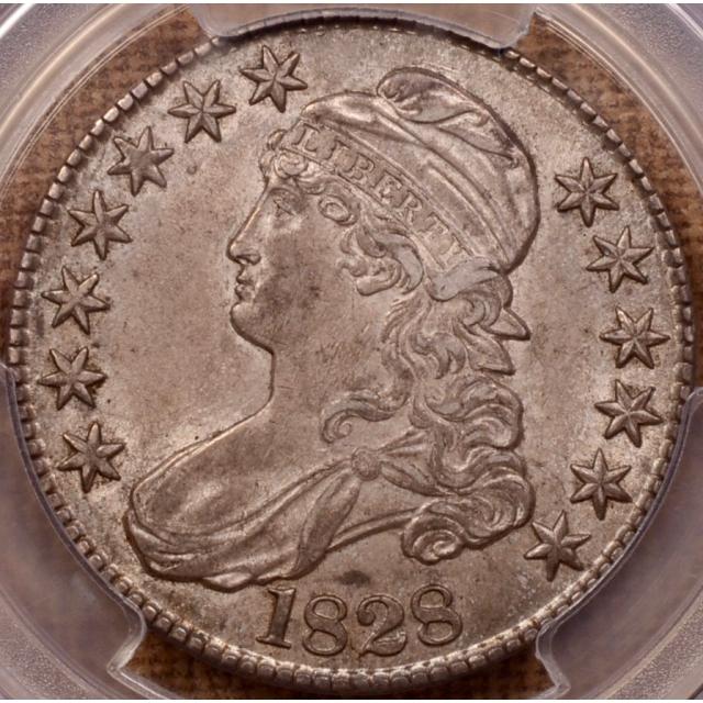 1828 O.107 Curl 2, Knob Capped Bust Half Dollar PCGS MS61 (CAC)