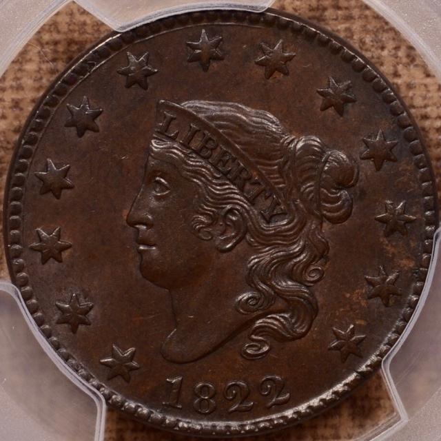 1822 N.4 Coronet Head Cent PCGS AU58