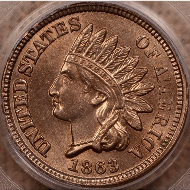 1863 Indian Cent - Type 2 Copper-Nickel PCGS MS64 (CAC) OGH
