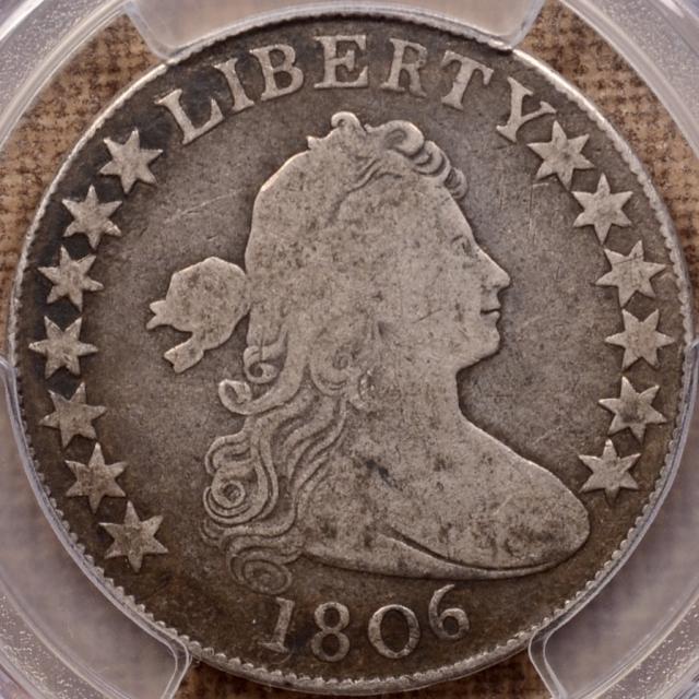 1806 O.110' (Prime) R7? Pointed 6, Stem Draped Bust Half Dollar PCGS VG10 CAC