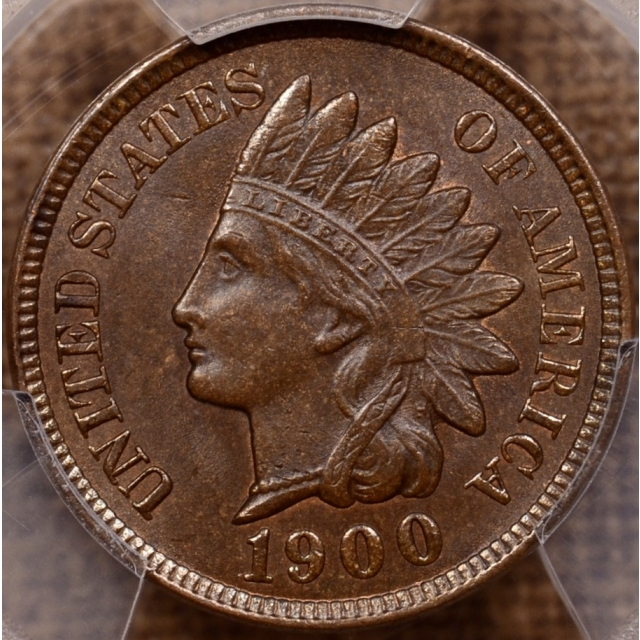 1900 S.22 1 over 1 Indian Cent PCGS MS64 BN