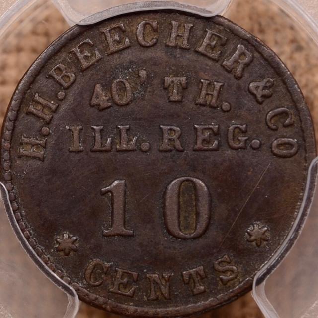 (1861-65) IL-40-10B IL S-H10B Brass R7 Sutler Token H.H. BEECHER & CO.- JOHN STANTON PCGS XF40