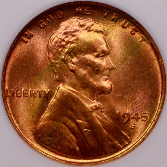 1945-S Lincoln Cent NGC MS66 RD