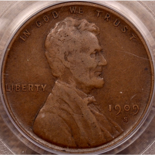 1909-S VDB Lincoln Cent PCGS VF25 OGH (CAC)