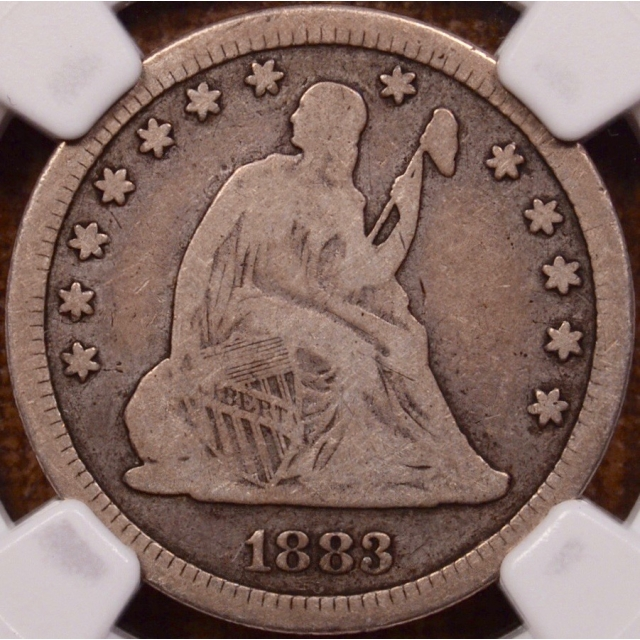 1883 Liberty Seated Quarter NGC VG10 (CAC)