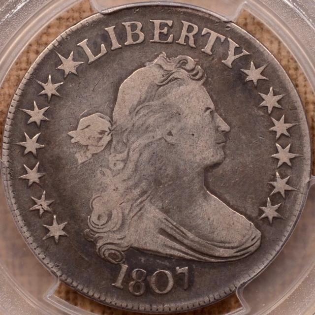 1807 O.107a R4+ Draped Bust Half Dollar PCGS F12