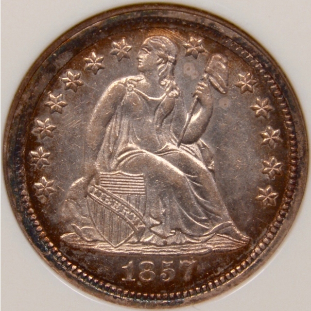 1857 F-103 Seated Liberty Dime NGC MS63