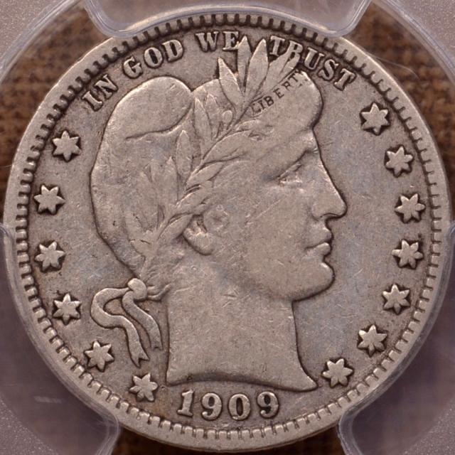 1909-O Barber Quarter PCGS VF20 (CAC)