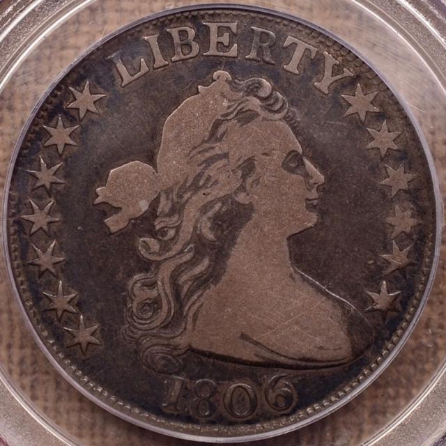 1806 O.111b T-11 R7? 6 over Inverted 6 Draped Bust Half Dollar PCGS VG10, Ex. Higgins