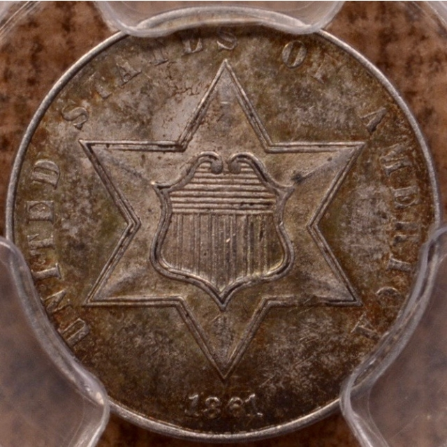 1861 Three Cent Silver PCGS AU58