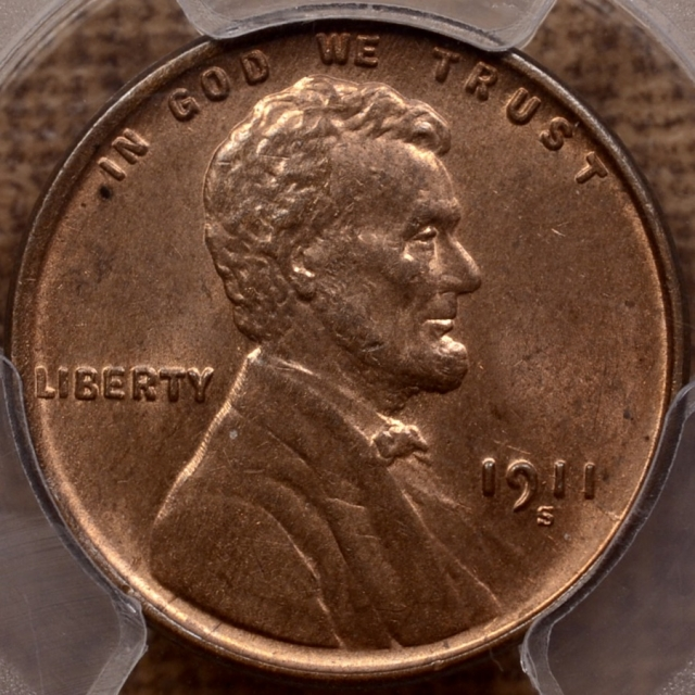 1911-S Lincoln Cent PCGS MS64 RB CAC