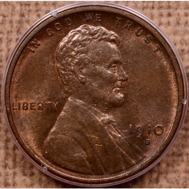 1910-S Lincoln Cent PCGS MS65 RB Rattler