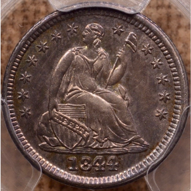 1844 V.3a Liberty Seated Half Dime, Normal Date, PCGS AU58 (CAC)