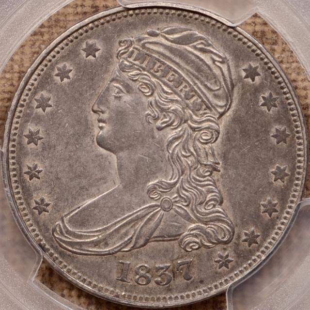 1837 GR-9 Capped Bust Half Dollar 50 CENTS Rev PCGS AU53 CAC