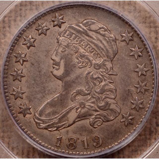 1819 B.3 Small 9 Capped Bust Quarter PCGS AU50 (CAC)
