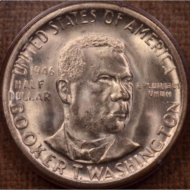 1946-S Booker T. Washington Silver Commemorative PCGS MS64 Rattler