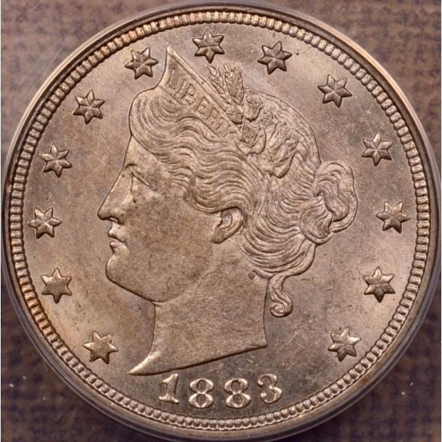 1883 No Cents Liberty Nickel ANACS AU58, I grade AU64