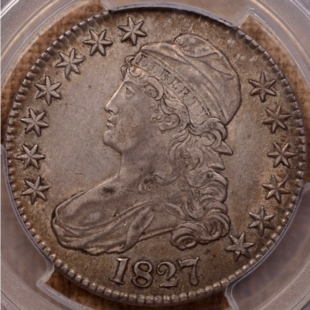 1827 O.140 R4+ Square Base 2 Capped Bust Half Dollar PCGS XF45 (CAC)