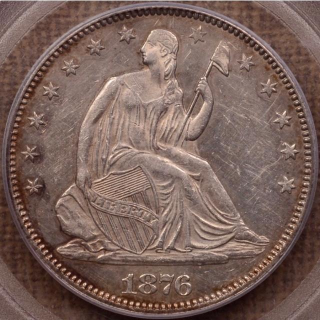 1876 WB-106 R7? Lg/Sm Date FS-301 Liberty Seated Half Dollar PCGS AU55, Very Rare