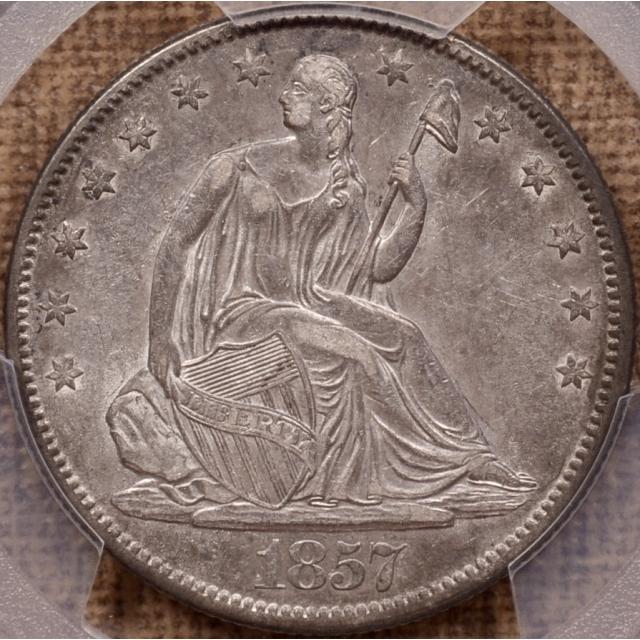 1857-O WB-3 Liberty Seated Half Dollar PCGS AU50 (CAC)