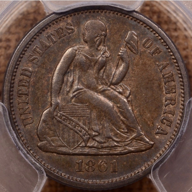 1861 Liberty Seated Dime PCGS AU58, a crusty, WOW coin