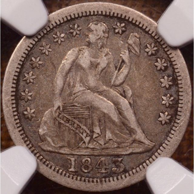 1843-O Seated Liberty Dime NGC VF25 (CAC)