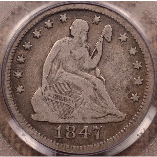 1847-O B.1/A Liberty Seated Quarter PCGS F15 (CAC)