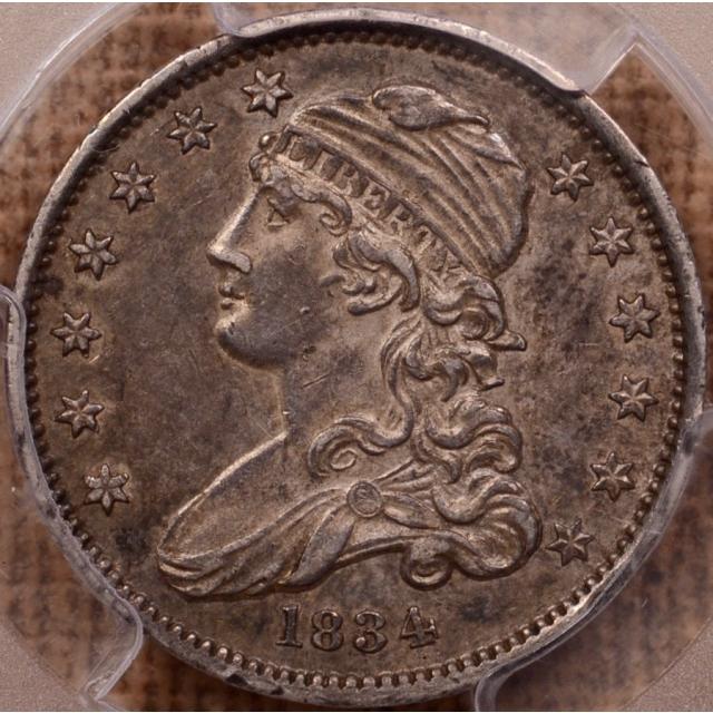 1834 B.1 O/F Capped Bust Quarter PCGS AU55 CAC