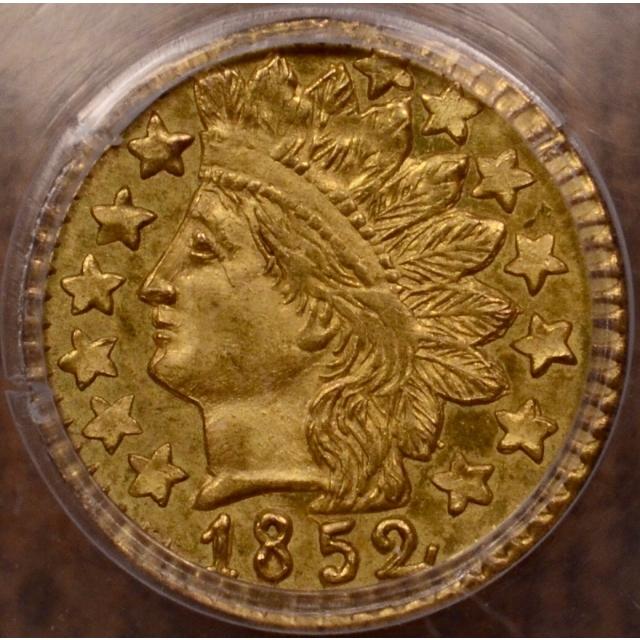 1852 BG-891 25c Round California Fractional Gold PCGS MS64
