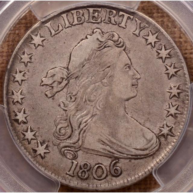 1806 O.109 T-5 Pointed 6, No Stem Draped Bust Half Dollar PCGS VF30 (CAC)