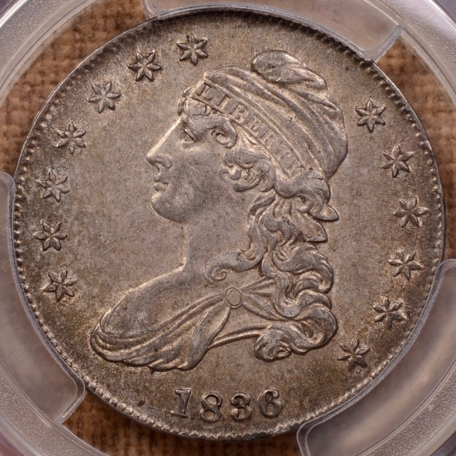 1836/1336 O.108a Lettered Edge Capped Bust Half Dollar PCGS AU50 (CAC)
