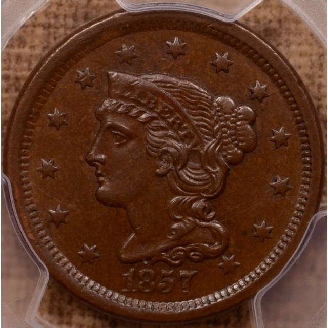 1857 N.4 Small Date Braided Hair Cent PCGS MS61BN (CAC)