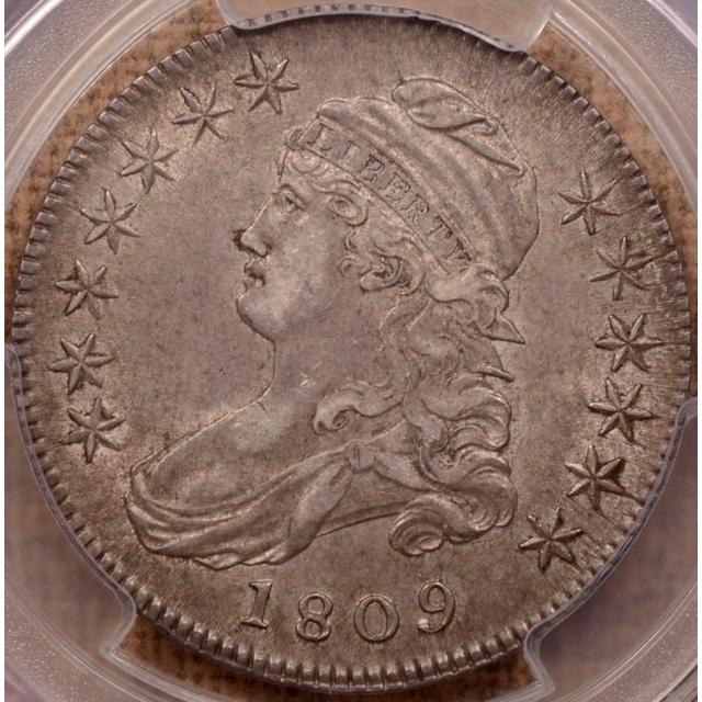 1809 O.109a III Edge Capped Bust Half Dollar PCGS AU55 CAC