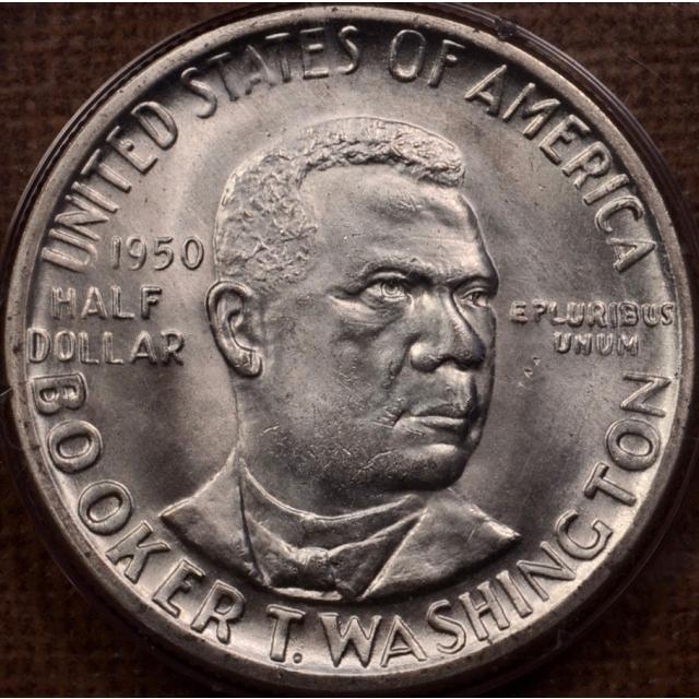 1950 50C Washington, Booker T. Silver Commemorative PCGS MS65 Rattler