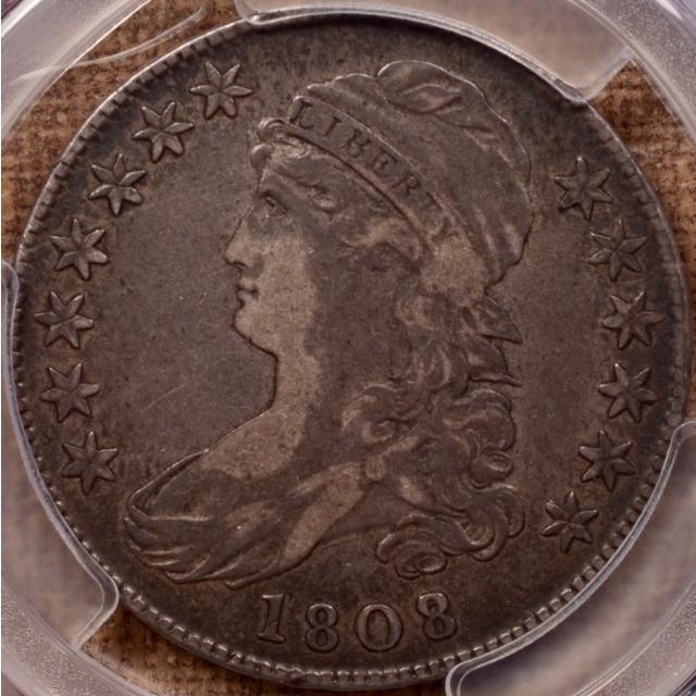 1808/7 O.101 Capped Bust Half Dollar PCGS VF25 (CAC)