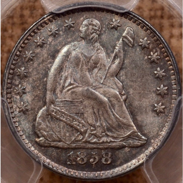 1858 FS-302 RPD/Inverted Date Liberty Seated Half Dime PCGS MS65