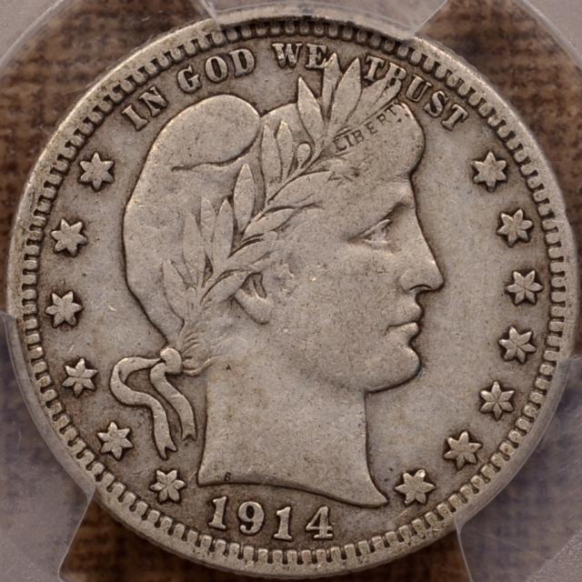 1914-S Barber Quarter PCGS VF20 CAC, PQ+