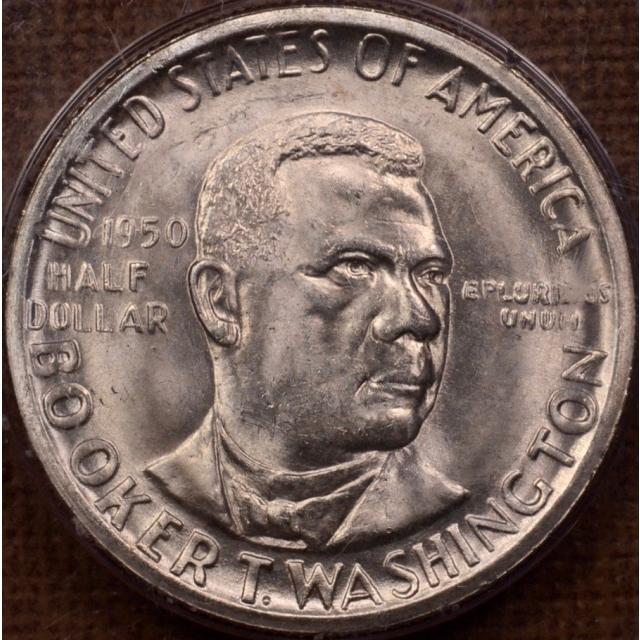 1950-D 50C Washington, Booker T. Silver Commemorative PCGS MS65 Rattler