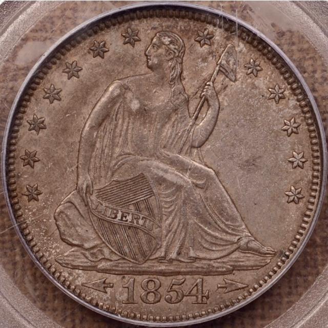 1854 Arrows Liberty Seated Half Dollar PCGS AU50 (CAC)