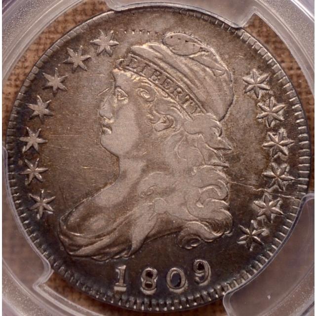 1809 O.107a III Edge Capped Bust Half Dollar PCGS VF20, obv Dentil Tracks