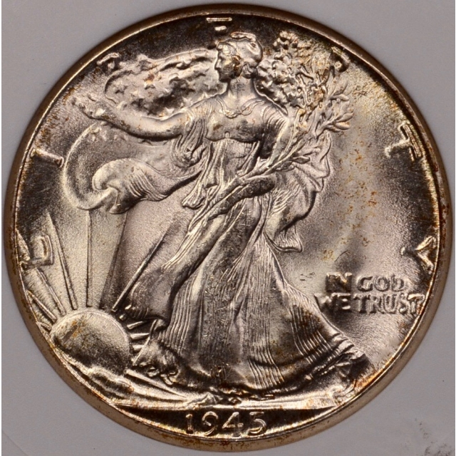 1945-D Walking Liberty Half Dollar ANACS MS65
