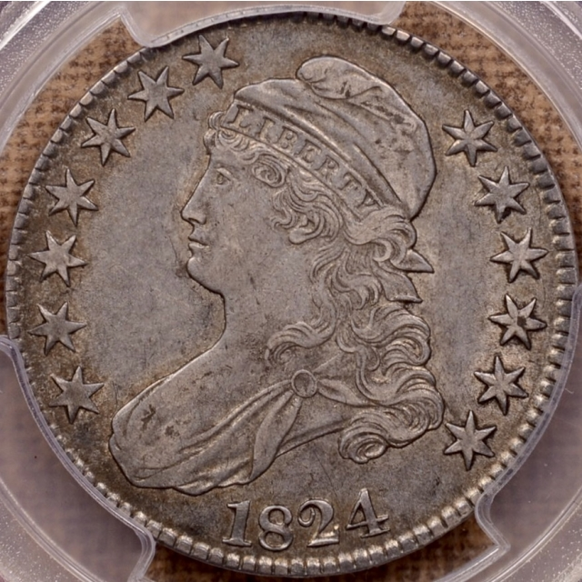 1824 O.108 Capped Bust Half Dollar PCGS XF40 CAC, ex. Peterson