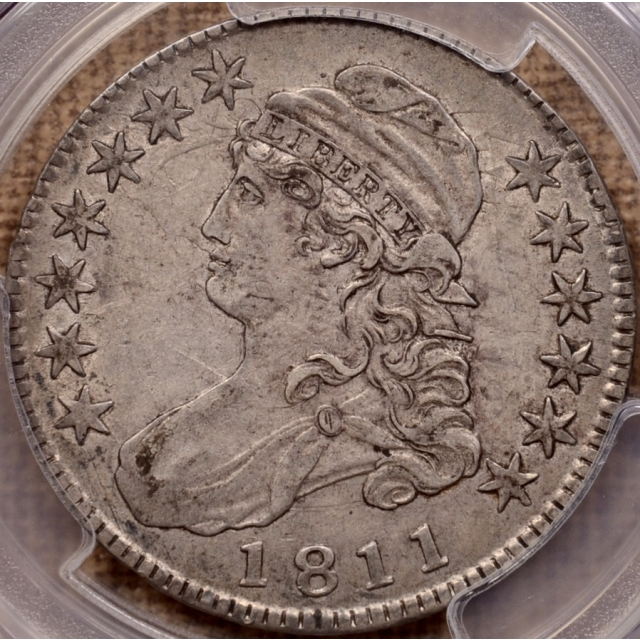 1811 O.103 Large 8 Capped Bust Half Dollar PCGS XF45+ CAC