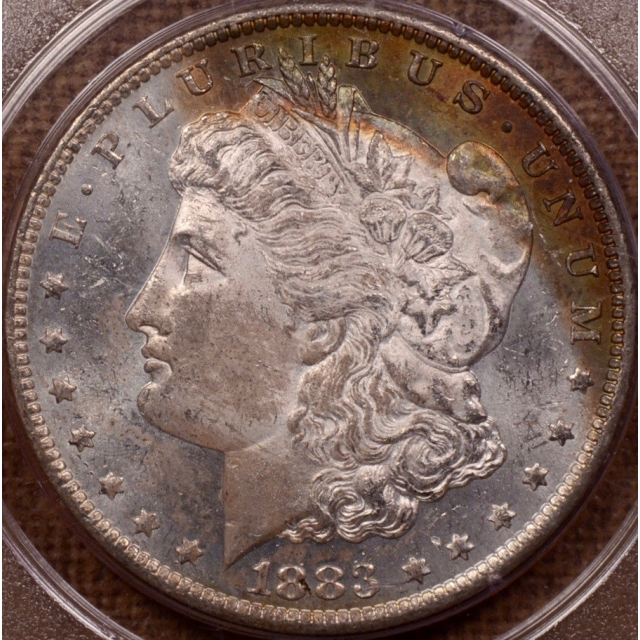 1883-O Morgan Dollar PCGS MS62 PL Rattler, Obverse Rainbow