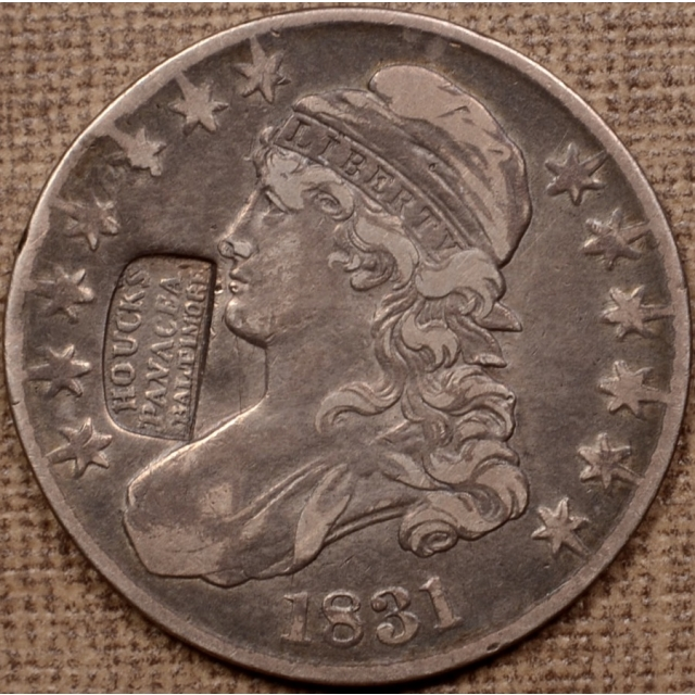 1831 O.118 HOUCK'S PANACEA counterstamp Capped Bust Half Dollar, raw VF30, ex. Stu Witham BHNC 001