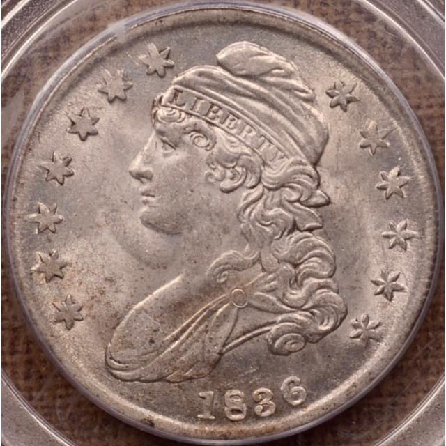 1836 O.115 Capped Bust Half Dollar PCGS AU58 CAC