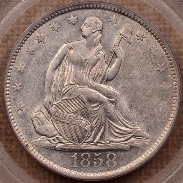 1858-O WB-18 Liberty Seated Half Dollar PCGS AU50 (CAC) OGH